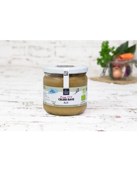 Purée bio de céleri (330 g) Conserverie artisanale de légumes Bio breton. La Marmite Bretonne. Plougoumelen. Golfe du Morbihan