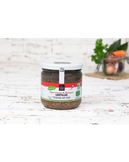 Lentilles bio bretonnes au naturel (340 g) Conserverie artisanale de légumes Bio breton. La Marmite Bretonne. Plougoumelen. Golfe du Morbihan